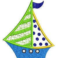 Applique embroidery design of a sail boat.