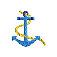 Small embroidery design of an anchor.