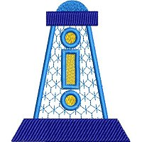 Applique embroidery design of a light house.