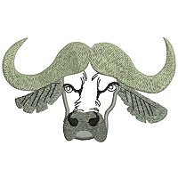 Cape buffalo embroidery design.