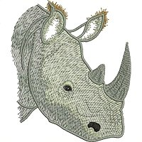 White Rhino embroidery design.