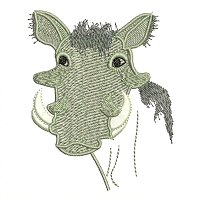 Warthog embroidery design.