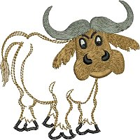 Embroidery design of a buffalo for little kids.jpg