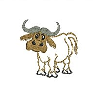 Small embroidery design of a buffalo for little kids.jpg
