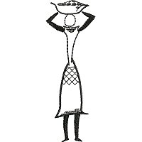 Ethnic embroidery design of a women with a basket on her head.