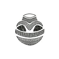 Ethnic embroidery design of a clay pot.