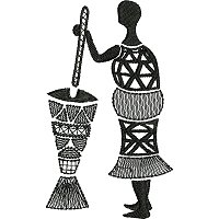 Ethnic embroidery design of a woman crushing grain with a large mortal and pestle.