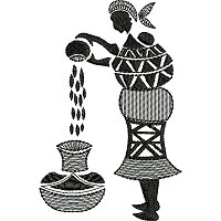 Embroidery design of a woman sifting grain.