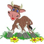 Link to the Funky Cows embroidery design collection