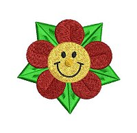 Embroidery design of a smiling face on a flower.