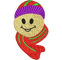 Embroidery design of a smiling face wearing a beany and a scarf.