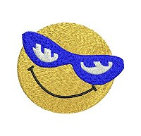 Embroidery design of a smiling face wearing a blue sunglasses.
