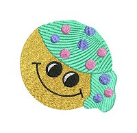 Embroidery design of a smiling face wearing a beanie.