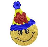 Embroidery design of a smiling face wearing a party hat.