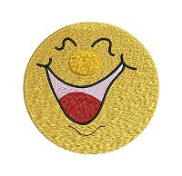 Embroidery design of a smiling face with a wide open mouth.