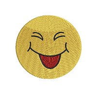 Embroidery design of a smiling face with eyes closed and tongue stuck out.
