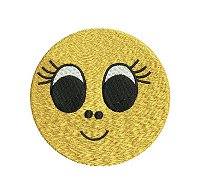Embroidery design of a smiling face with big, adorable eyes.