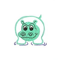 Small embroidery design of a hippo for little kids.jpg