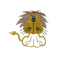 Small embroidery design of a lion for little kids.jpg