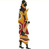 Embroidery design of a Maasai women in colorful traditional attire with her baby on her back..jpg