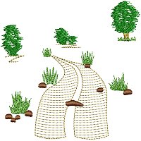 Embroidery design of some tracks set in an African landscape.jpg