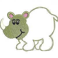 Embroidery design of a rhino for little kids.jpg