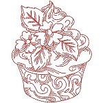 Redwork cupcakes machine embroidery designs