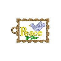 Peace embroidery design with a tag