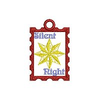 Silent night embroidery design with a tag.