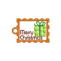 Merry Christmas embroidery design with a tag.