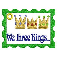 "Large ""We three kings"" embroidery design."