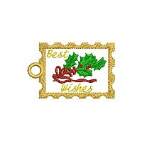 Best wishes embroidery design with a tag.
