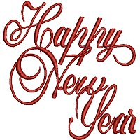 Happy New Year free embroidery design.
