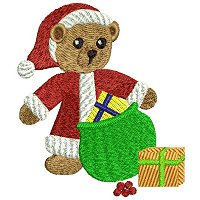 Embroidery design of a christmas bear