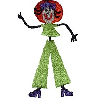 Fashionable sitck figure embroidery design of a girl